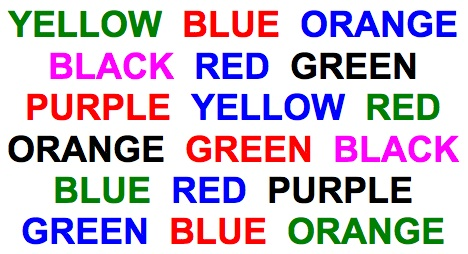 COLOR of each word, rather than reading the word, itself.